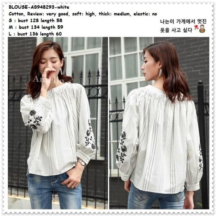 Foto Produk Baju Atasan Wanita Boho Blouse Korea Import AB948293 White Putih Tunik dari Amelie Butik Wholesale