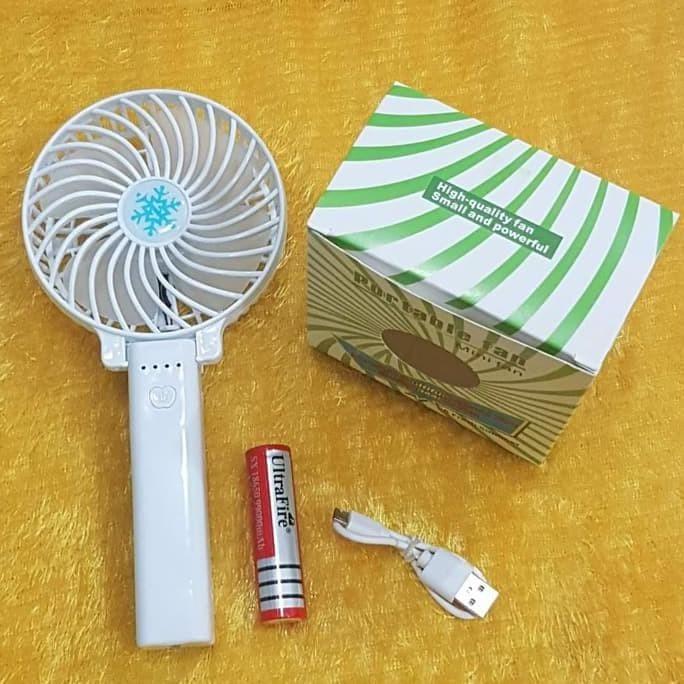 kipas angin cas portable / kipas lipat charger pegang tangan - Biru