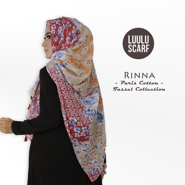 Luulu scarf - rinna   bunga   paris cotton   hijab motif / jilbab