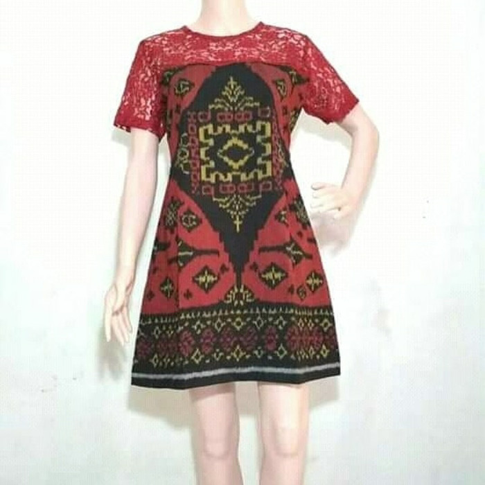 Jual Dress Tenun Lobeng Bali Kombinasi Brokat Kab Jepara Baju Dan Kain Tenun Tokopedia