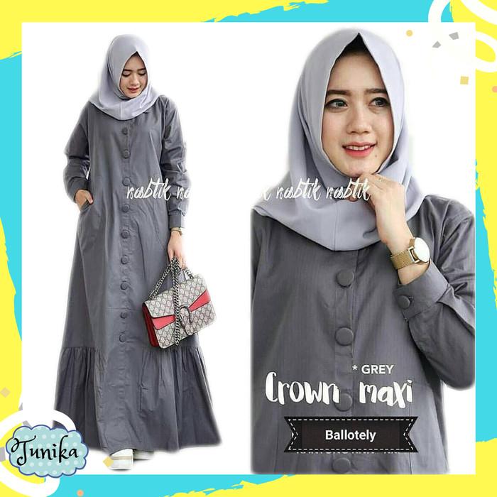 Jual Baju Gamis Wanita Terbaru - Crown Maxi Dress Polos Murah ... 496a04ee48