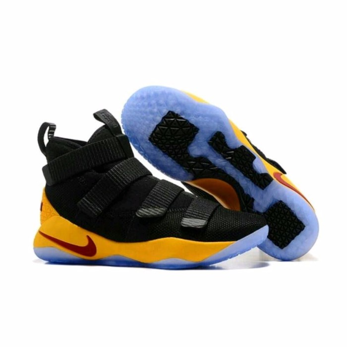 online retailer 577bf f50b2 Nike Lebron Soldier 11 Black Yellow New Sneaker Casual Sporty