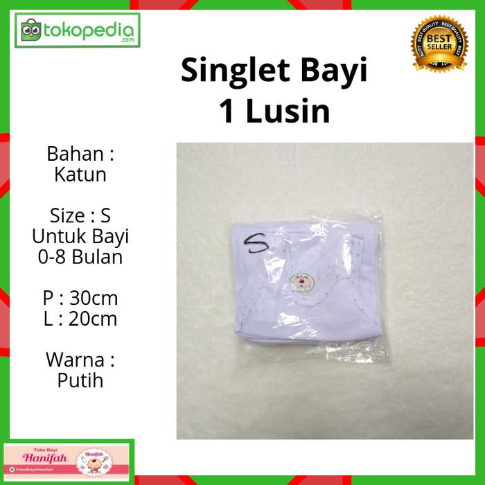 Foto Produk 12 pcs / 1 Lusin Kaos Dalam /Singlet Anak Bayi Putih size S 0-8 bulan dari Toko Bayi Hanifah