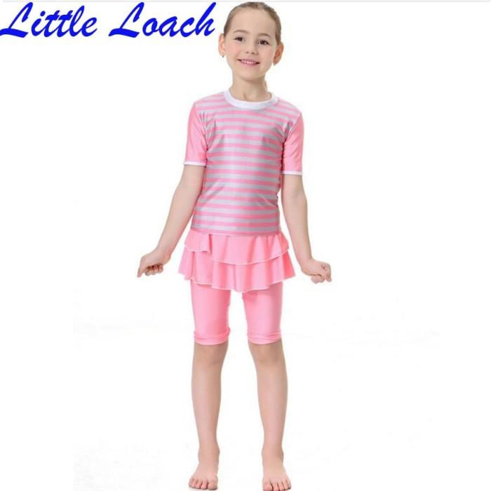 4c60e55526e6b Jual 2019 Children Girl Striped Swimsuit Muslim Kids Girl Summer ...