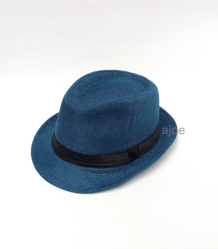 Jual Topi pria fedora   topi tompi anyaman   topi fedora - Hitam ... 988e4dace6