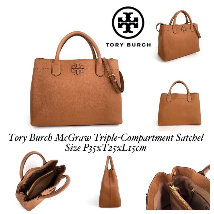 「tory burch triple compartment mcgraw satchel」的圖片搜尋結果