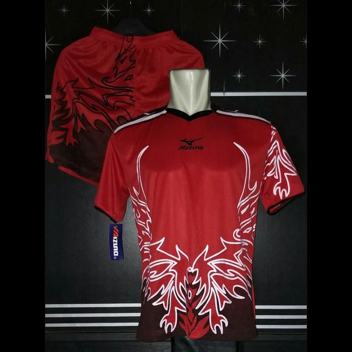 Baju Voli Mizuno Wing Merah / Jersey Volly / Kaos Stelan Kostum Futsal