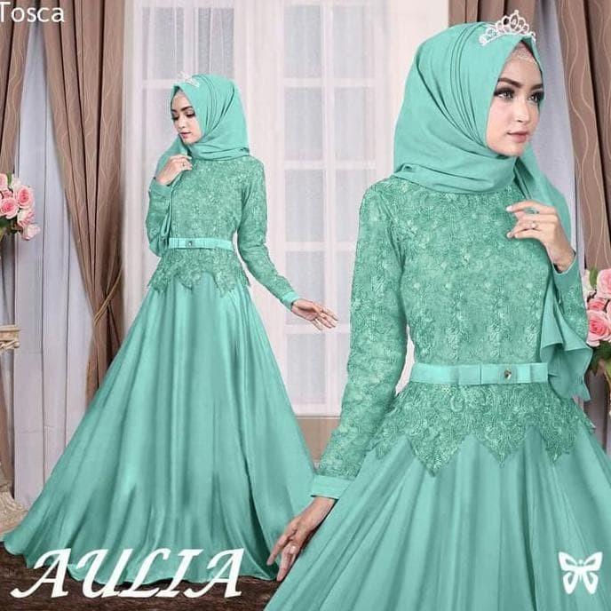 Jual Baju Atasan Gamis Wanita Muslim Syari Aulia Dress Pesta