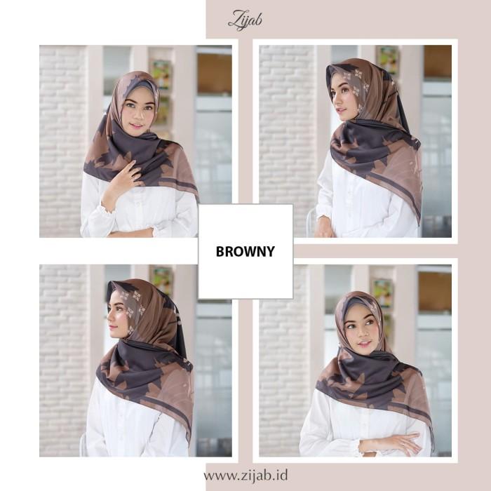 Jilbab Segiempat Premium Voal - Motif Browny