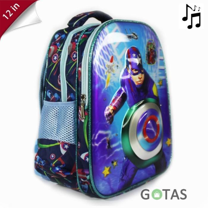 Tas Ransel Anak Sekolah TK Lampu Music Captain America 7D Timbul 2