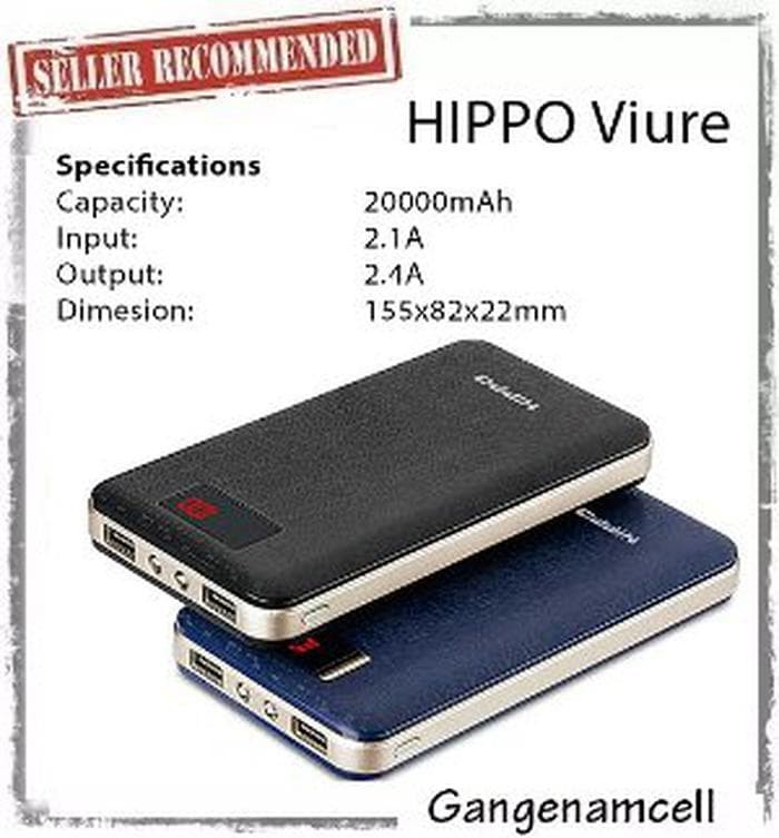 Dijual Hippo Power Bank Viure 20000 MAh Simple Pack / Powerbank