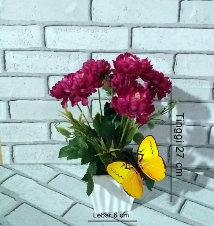 Naindo satu set Bunga Plastik Hiasan Ruang tamu dan Kantor dengan pot - Ungu 970f6eba19