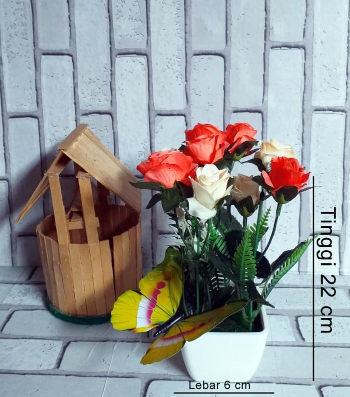 Naindo Bunga Mawar campur hiasan ruang tamu dan kantor lengkap pot - Ungu f57ea8475f