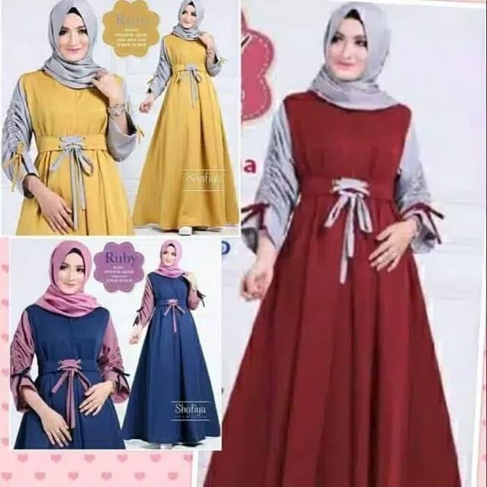 Jual Baju Gamis Wanita Ruby Dress Maxi Dress Baju Muslim Wanita Murah Navy Ciputat Toko Online Grosirr Indo Tokopedia