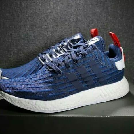 0f6b6e1eb6df2 Jual Adidas NMD R2 Navy Blue White High Premium Original Sepatu ...