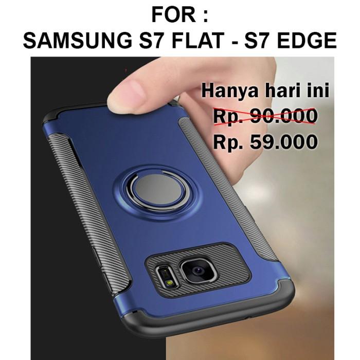 Foto Produk Case Samsung S7 Flat - S7 Edge softcase casing cover stand RING ARMOR - S7 Flat, Hitam dari Case Pedia