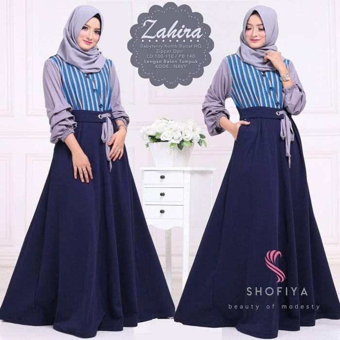 Baju Zahira Dress Navy  Grosir Baju Muslim Gamis Long Maxi Dress Murah 5f2b0f27cd