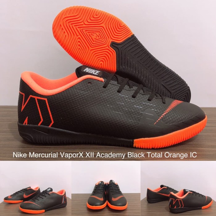 0ca8d2c39 SEPATU FUTSAL NIKE MERCURIAL VAPORX XII ACADEMY BLACK TOTAL ORANGE IC