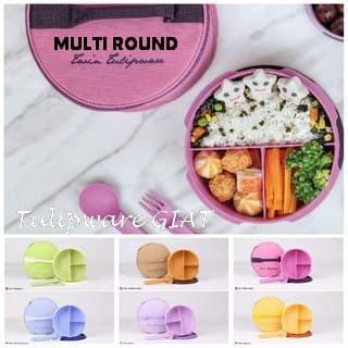 Foto Produk Set Makan Bulat Bersekat 3 / Set Makan Tas / Multi Round Set Tulipware dari TULIPWARE collection