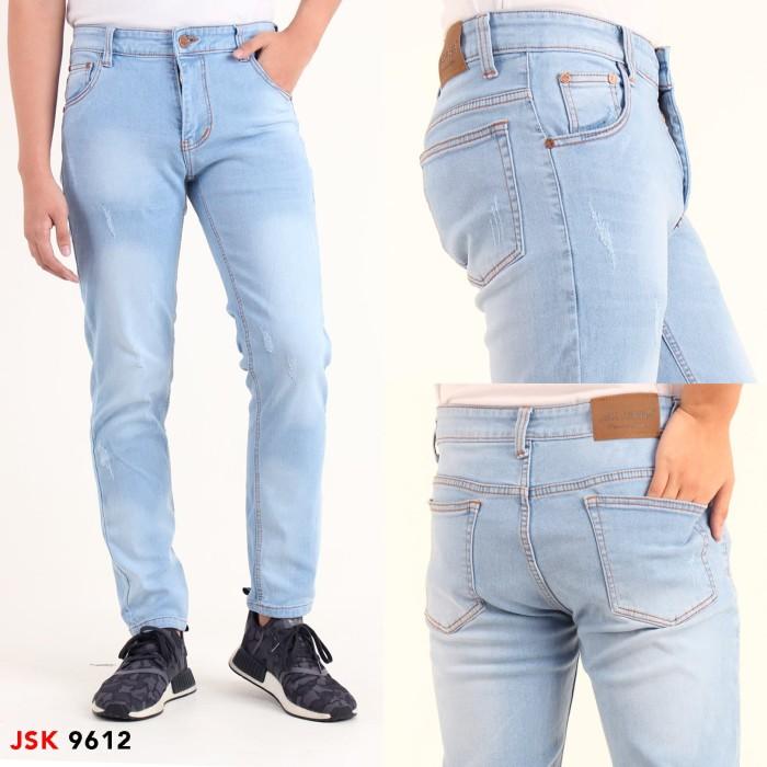 Celana Jeans Panjang Pria Skinny Premium JSK 9612 9613 9614 9615 - Biru Muda, 28