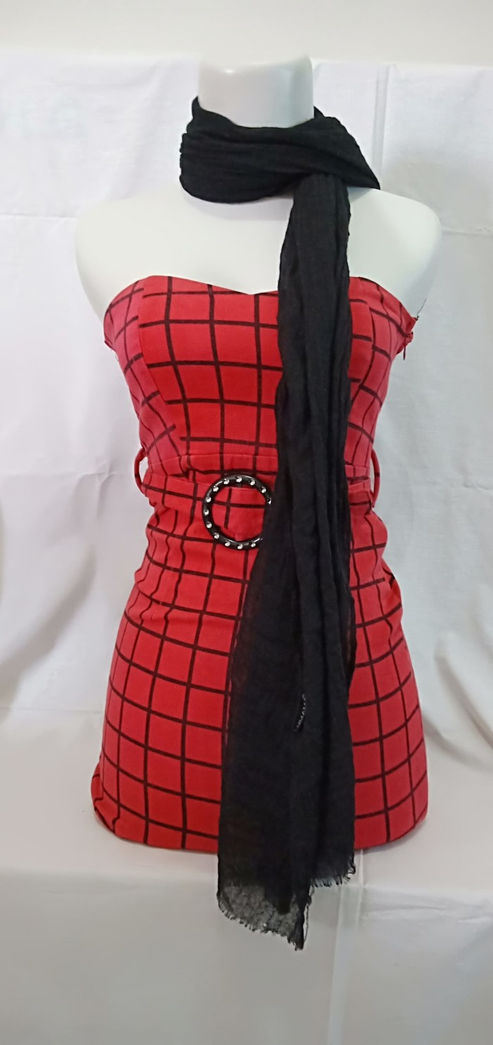 PL IMPORT gaun dress malam sexy wanita model kemben merah kotak kotak