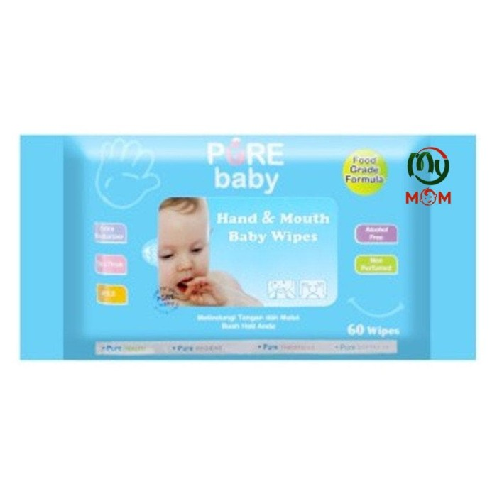 jual PURE BABY WIPES HAND AND MOUTH 60s - TISSUE BASAH - MYMOM