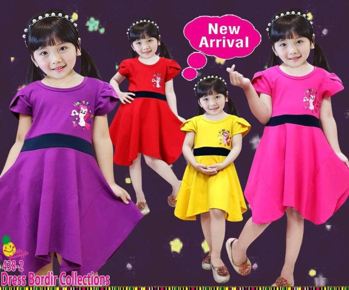 murah sz 2 4 6 dress anak little pineapple pony pinky pie bordir