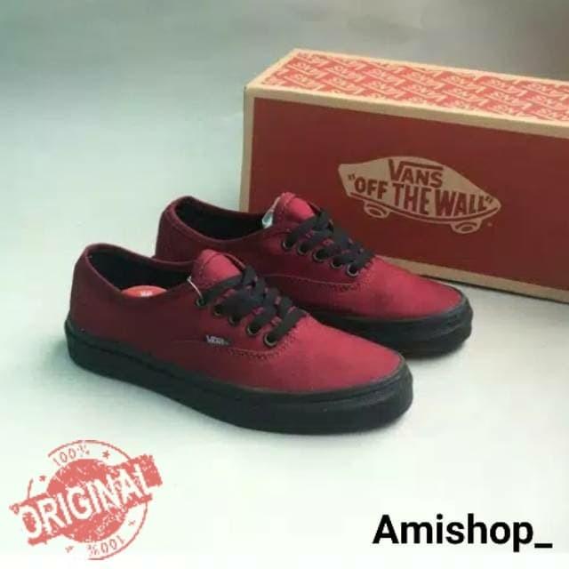 vans red black