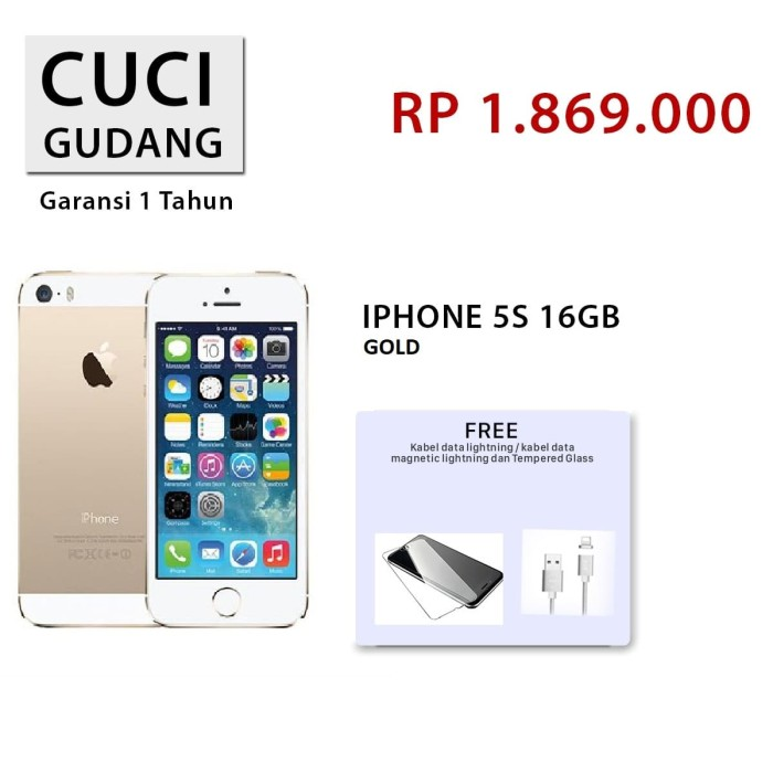 Jual APPLE IPHONE 5S 16GB FU GOLD ORIGINAL GARANSI DISTRIBUTOR ... 95cbfb001e