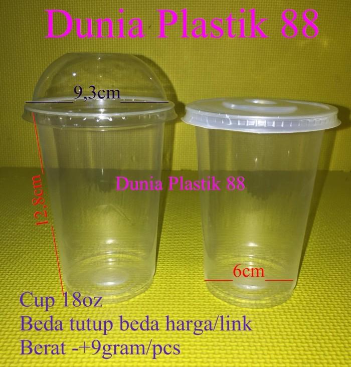 isi50Pc GELAS plastik plastic cup 18 oz 18oz + TUTUP CEMBUNG dome lid