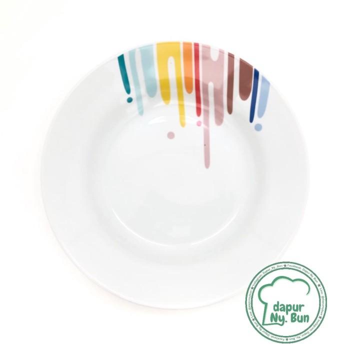 Foto Produk Piring Makan Motif RAINBOW / Ukuran 23cm / Piring Besar dari Dapur Ny.Bun