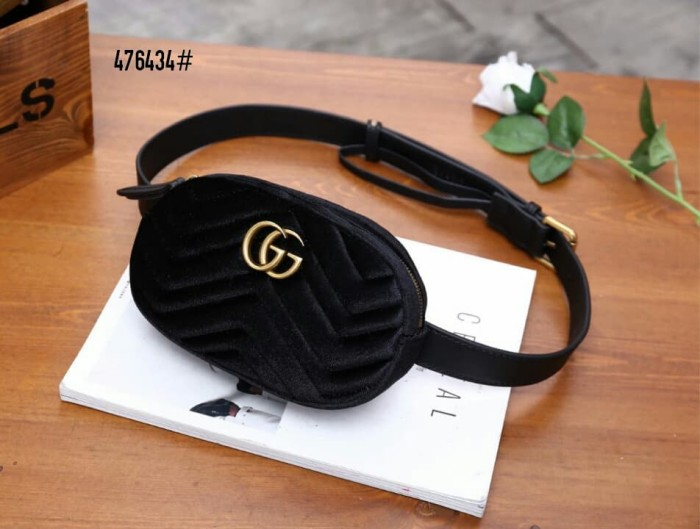 b7c924d04b3b Jual Gucci GG Marmont Matelasse Velvet Waist Bag👛 #476434 - Hitam ...