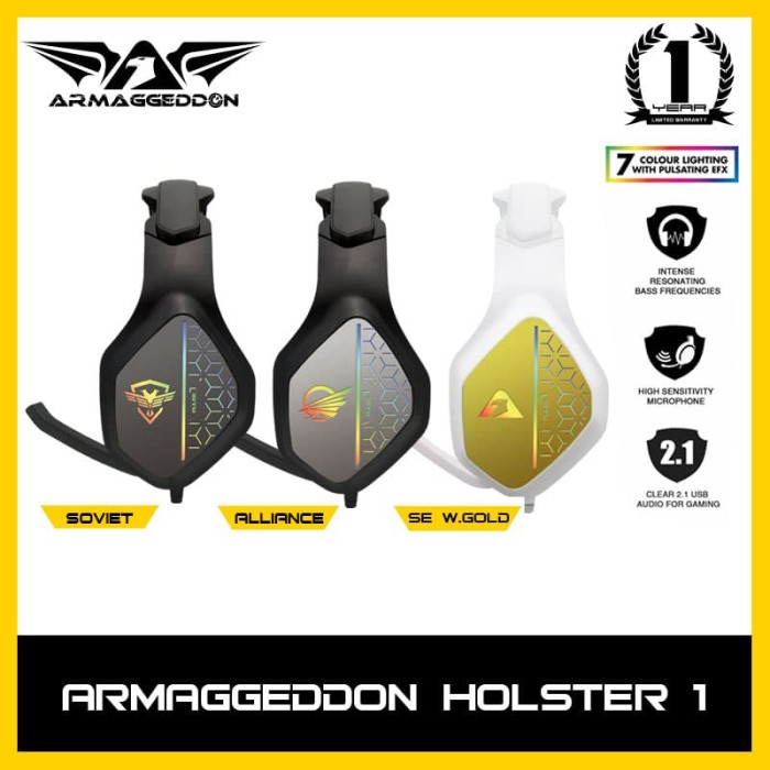 Foto Produk Headphone Headshet Gaming Armaggeddon Pulse 7 With 7 LED Color Effect - Soviet dari Armaggeddon Official
