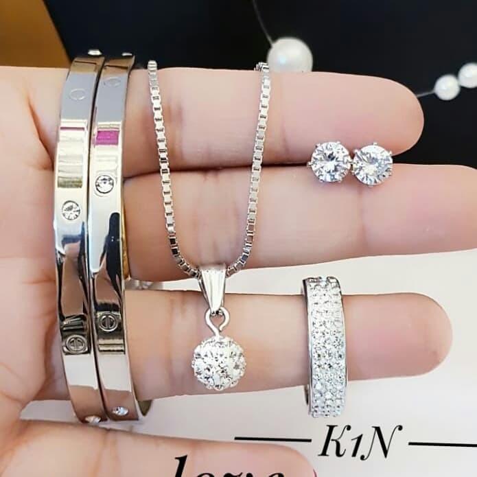 Jual titanium set perhiasan kalung gelang cincin lapis ...