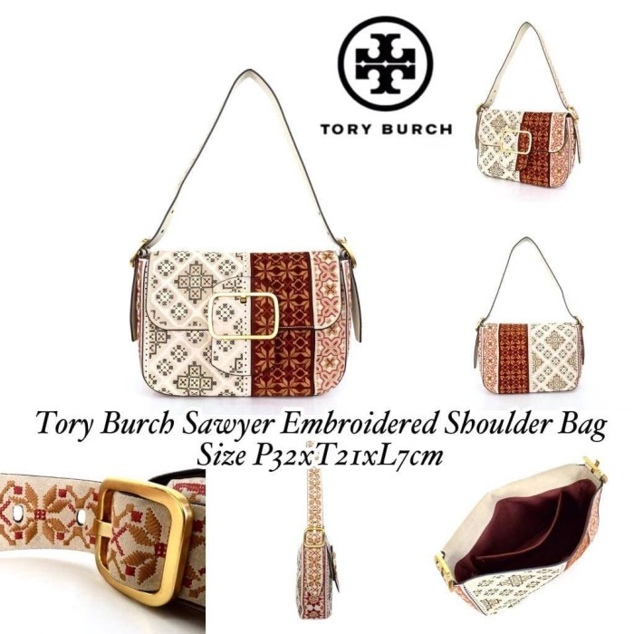8f37b39ad536 Jual Tory Burch Sawyer Embroidered Shoulder Bag - Grande Butiq