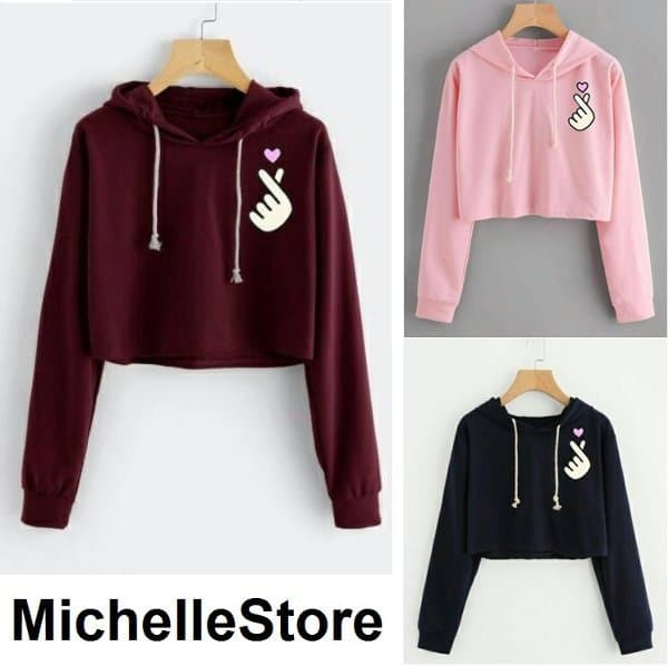 Michellestore Sweater Wanita Crop Hoodie Somebody To Love Black ... 3446e2b510