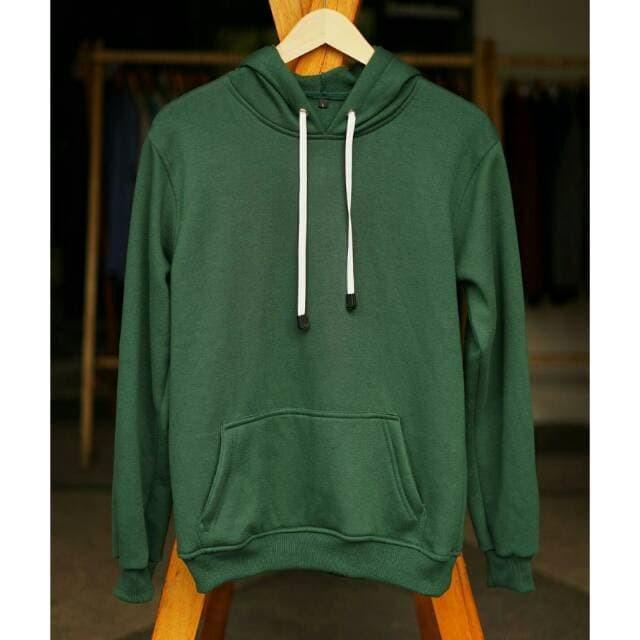 Jaket Sweater Polos Hoodie Jumper Fleece Hijau Botol Premium Quality - Hijau 420dbfcac6