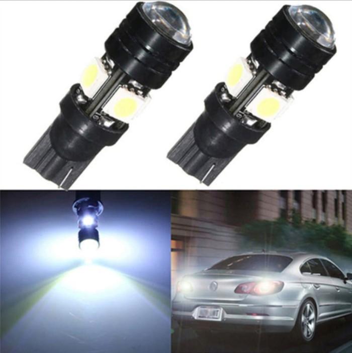 LAMPU LED SENJA KOTA T10 MOBIL MOTOR LENSA CEMBUNG 2PCS sparepart