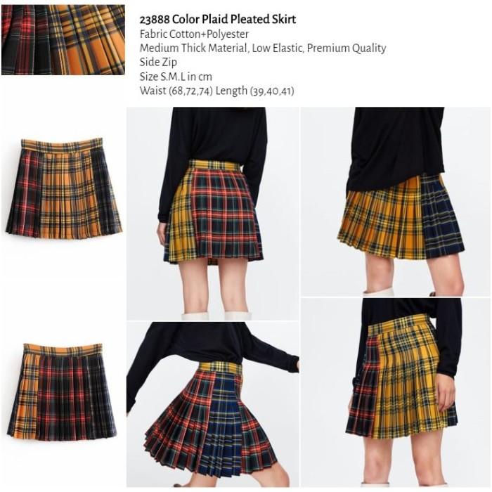 RK Color Plaid Pleated Skirt (size S,M,L)-23888