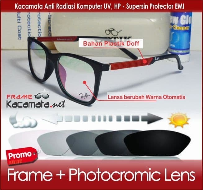 Frame kacamata + lensa photocromic minus wanita pria baca korea kotak c44f1c67b5