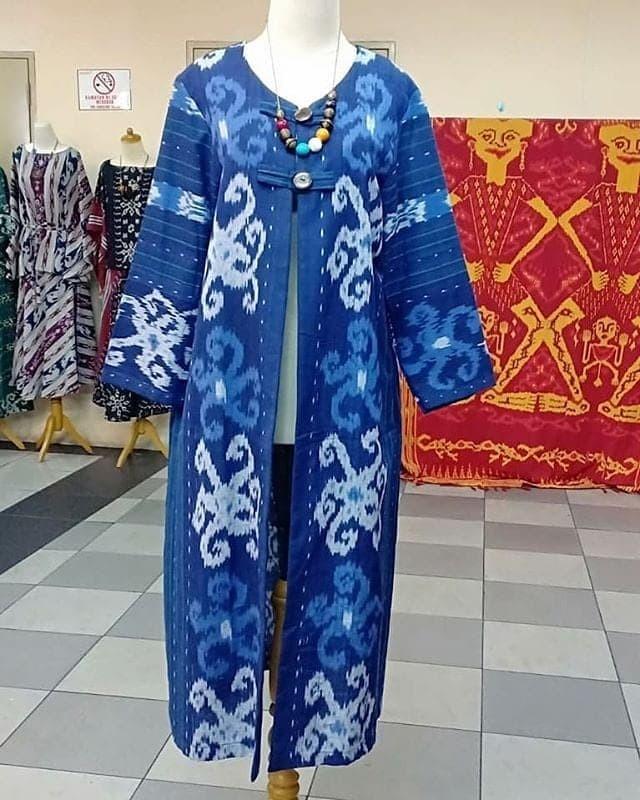 Jual Dress Batik Biru Bahan Kain Tenun Rang Rang Asli Handmade Troso ... d6213ec2cf
