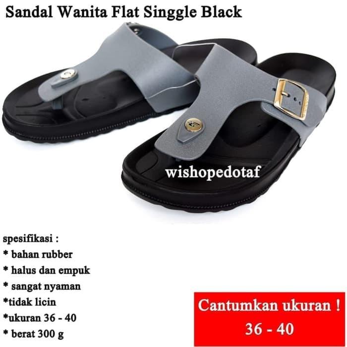 2dbef3c4f2e1c5 Jual Bagus Sandal Impor Wanita Flat Singgle BLACK - milania