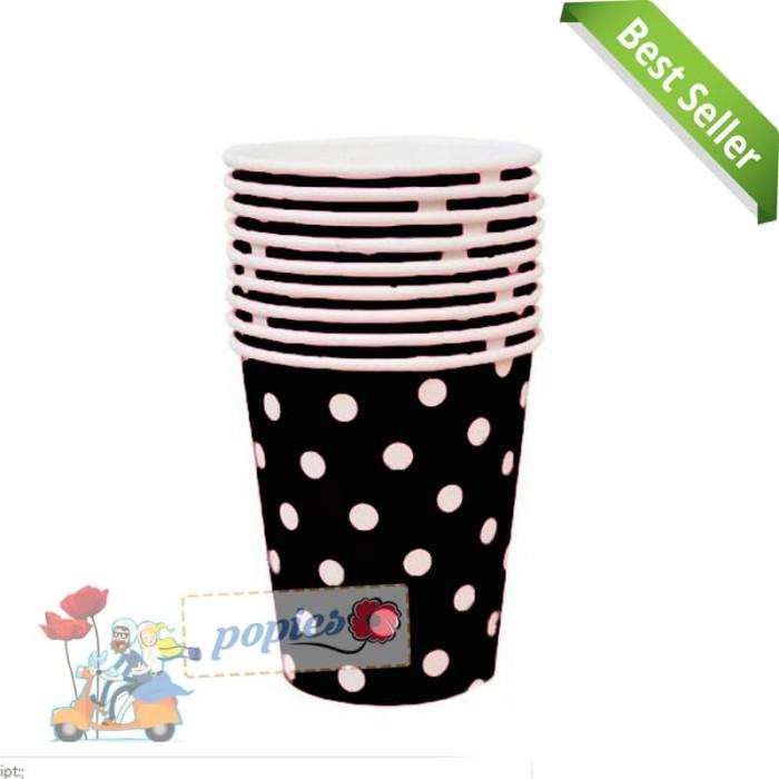 paper cup polkadot hitam / gelas ultah / gelas kertas polkadot hitam