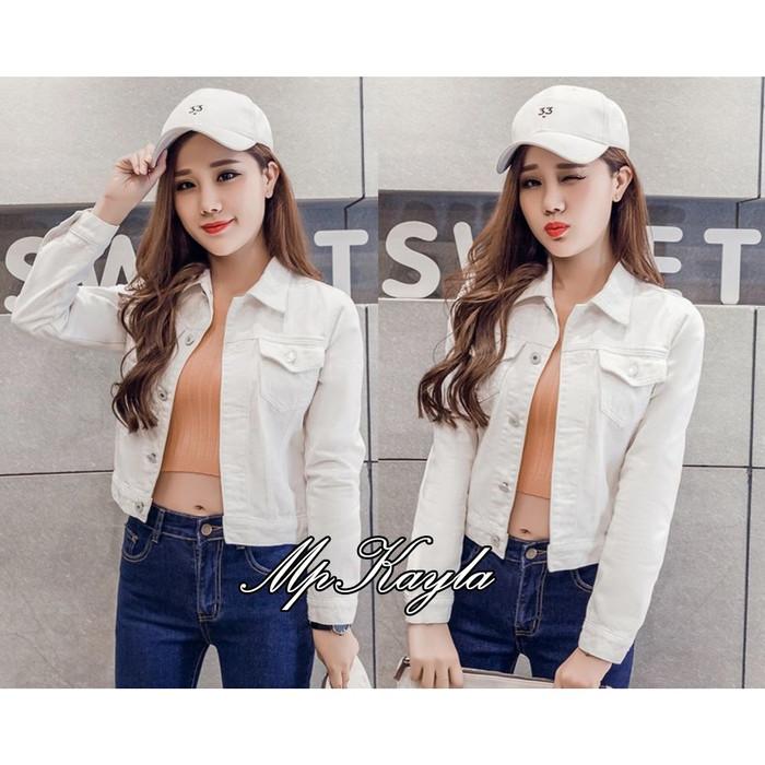 Jaket Jeans Wanita Putih Kayla