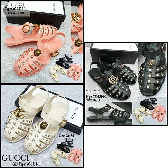 2553be2928a8 Jual Sendal GUCCI YC-1314-1 Crystal-Embellished Jelly Sandals - C ...