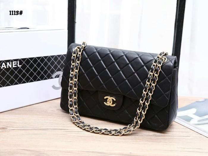 3b64cfaf2350 Jual Chanel Classic Jumbo Flap Bag👜 #1113 *Gold HDW - Hitam ...