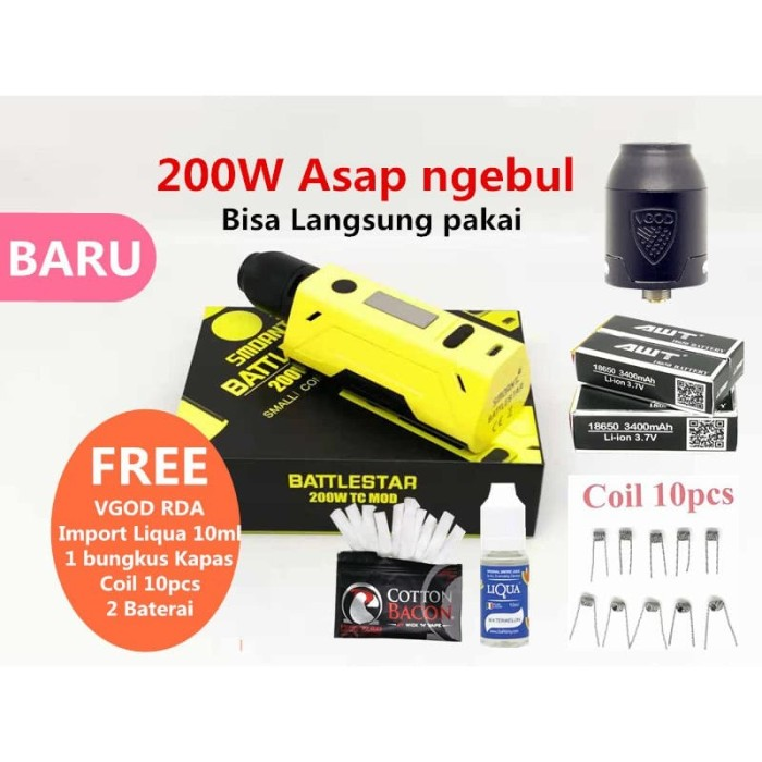 VAPE SMOANT BATTLE STAR 200W FREE RDA+Liqua 10ml+Kapas+Coil 10pcs+