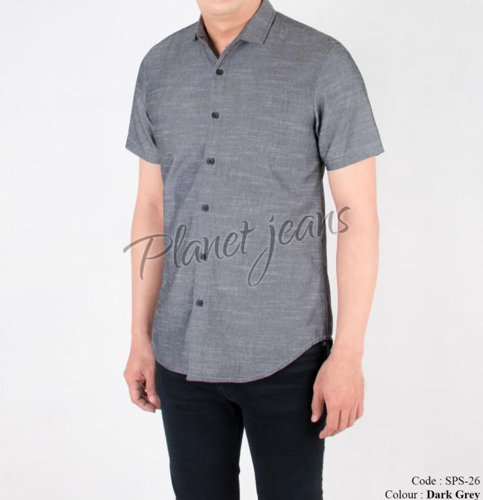 Foto Produk Kemeja Pria Polos Tangan Pendek Cowok Slimfit Lengan Casual - sps26 - Abu-abu, XL dari Planet Jeans