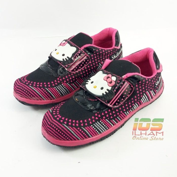 harga Sepatu sneaker anak shelvada sd hello kitty size 31-35 hitam fushia Tokopedia.com