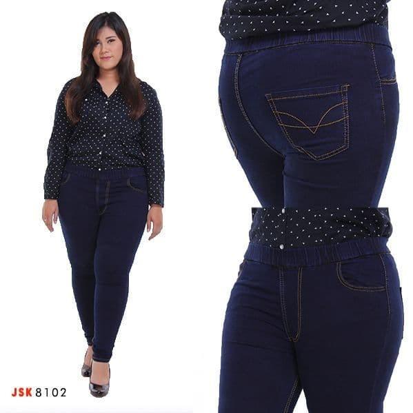 (Size 35-42) Celana Legging Jeans Celana legging Wanita Pinggang Karet - Navy, 39